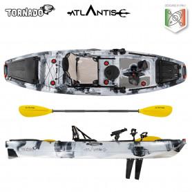 Kayak-canoa Atlantis TORNADO a pedali grigia - cm 300 - seggiolino - 2 portacanna - pagaia - 2 gavoni