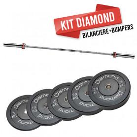 KIT 50 kg Dischi  bumper training Pro foro 50 mm Diamond Professional + Bilanciere 220 cm