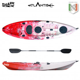 Kayak-canoa Atlantis SHARK rosso/bianco cm 280 - 2 gavoni -