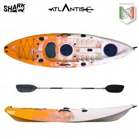 Kayak-canoa Atlantis SHARK arancio cm 280 - 2 gavoni - pagaia -