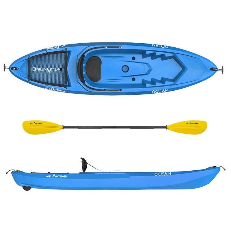 Kayak - canoa Atlantis OCEAN blu cm 266 - schienalino - ruotino