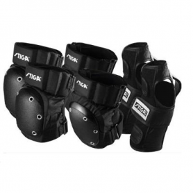 Set di protezioni imbottite SENIOR colore nero ginocchia,                                         gomiti, polsi