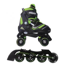 Pattini a rotelle trasformabili in pattini in linea 2in1 REVERSE verde lime misura L