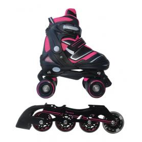 Pattini  a rotelle trasformabili in pattini in linea 2in1 REVERSE fucsia misura S