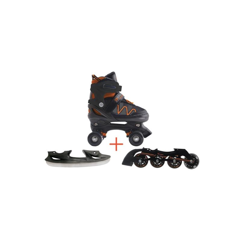 Pattini a rotelle trasformabili in pattini in linea e da ghiaccio 3in1 FLEXWHEEL arancio misura S (dal 30 al 33)