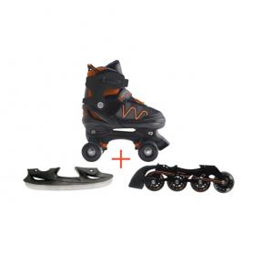 Pattini a rotelle trasformabili in pattini in linea e da ghiaccio 3in1 FLEXWHEEL arancio misura M (dal 34 al 37)
