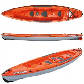 Canoa BORNEO ORANGE BIC SPORT biposto + 2 pagaie beach 215 cm + 2 seggiolini power