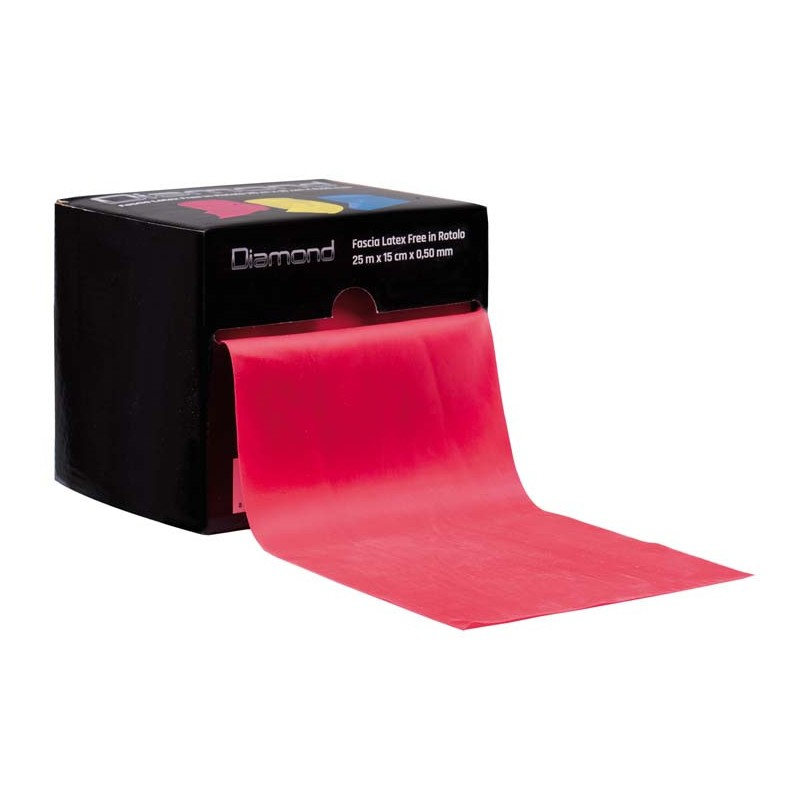 Fascia Elastica Diamond professional Latex Free in Rotolo 0,50 mm x 15 cm x 25 m rosso